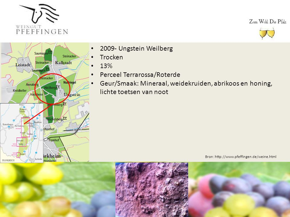 Bron: http://www.pfeffingen.de/weine.html 2009- Ungstein Weilberg Trocken 13% Perceel Terrarossa/Roterde Geur/Smaak: Mineraal, weidekruiden, abrikoos