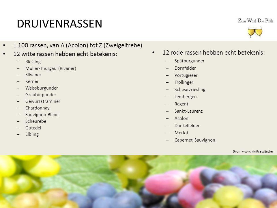 DRUIVENRASSEN ± 100 rassen, van A (Acolon) tot Z (Zweigeltrebe) 12 witte rassen hebben echt betekenis: – Riesling – Müller-Thurgau (Rivaner) – Silvane