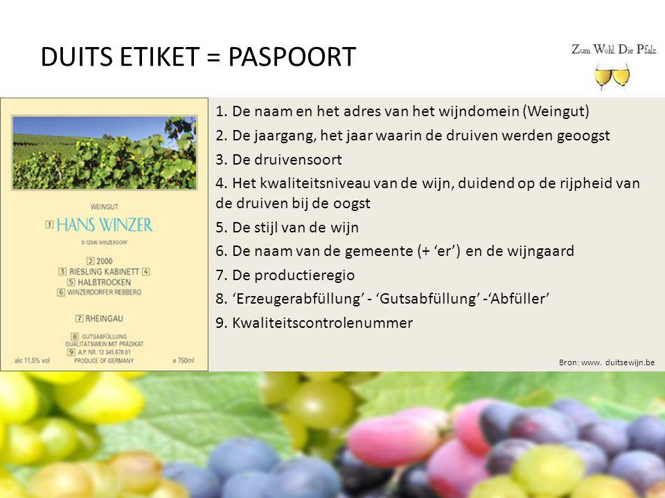 DUITS ETIKET = PASPOORT Bron: www. duitsewijn.be 1. De naam en het adres van het wijndomein (Weingut) 2. De jaargang, het jaar waarin de druiven werde