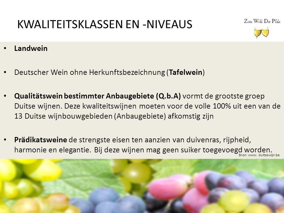KWALITEITSKLASSEN EN -NIVEAUS Bron: www. duitsewijn.be Landwein Deutscher Wein ohne Herkunftsbezeichnung (Tafelwein) Qualitätswein bestimmter Anbaugeb