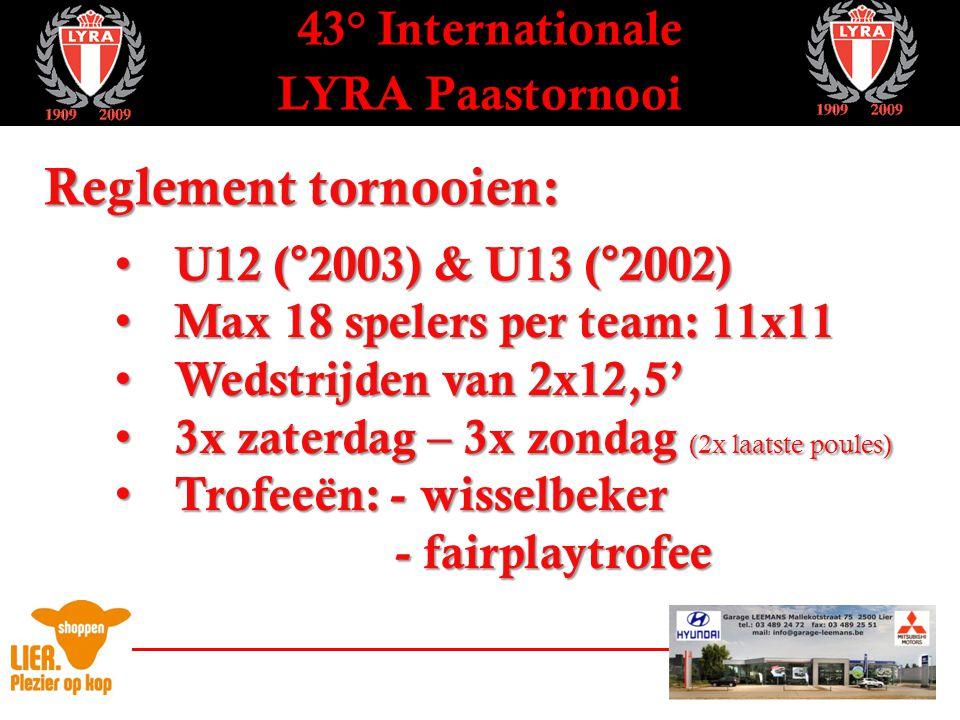 43° Internationale LYRA Paastornooi Tornooivorm U12 & U13 – 1° pouleronde - Wedstrijddag 1 -