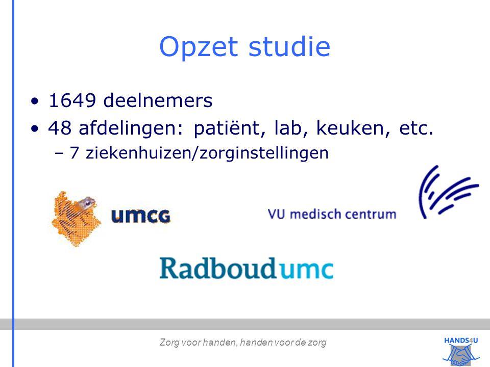 Opzet studie 1649 deelnemers 48 afdelingen: patiënt, lab, keuken, etc.