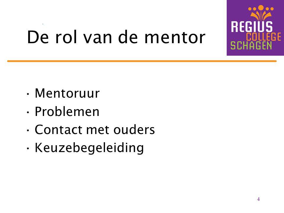De rol van de mentor Mentoruur Problemen Contact met ouders Keuzebegeleiding 4