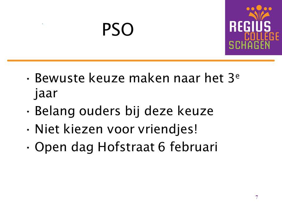 PSO Bewuste keuze maken naar het 3 e jaar Belang ouders bij deze keuze Niet kiezen voor vriendjes! Open dag Hofstraat 6 februari 7