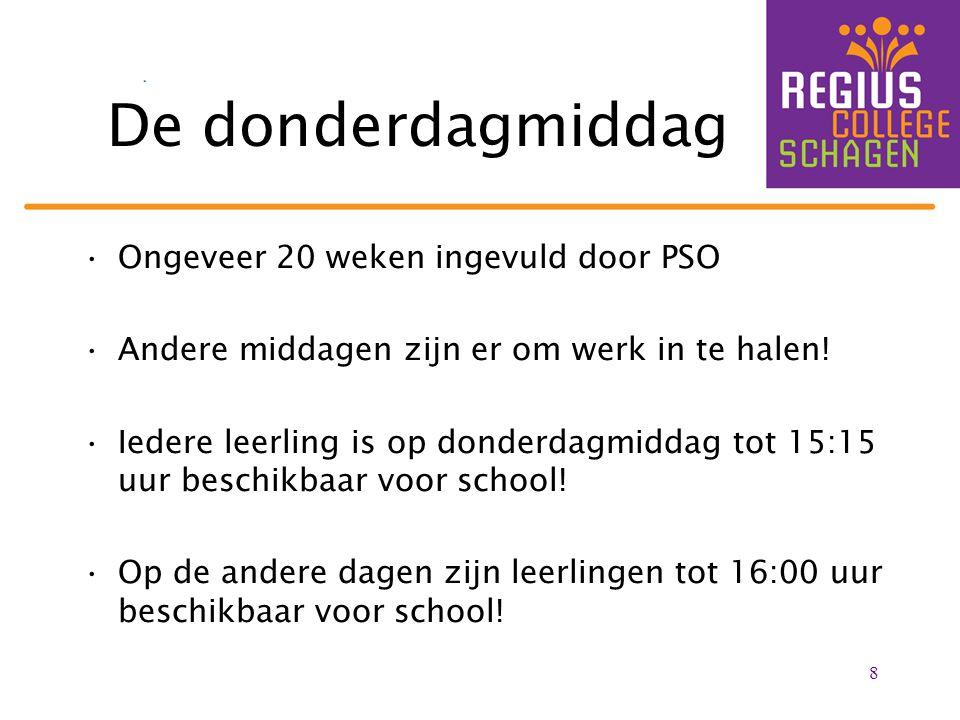 De donderdagmiddag Ongeveer 20 weken ingevuld door PSO Andere middagen zijn er om werk in te halen! Iedere leerling is op donderdagmiddag tot 15:15 uu