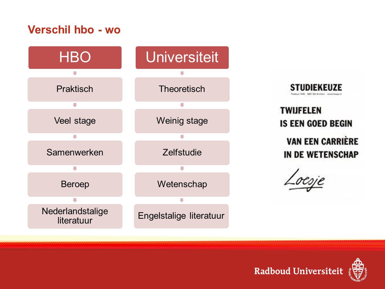 HBO PraktischVeel stageSamenwerkenBeroep Nederlandstalige literatuur Universiteit TheoretischWeinig stageZelfstudieWetenschapEngelstalige literatuur V