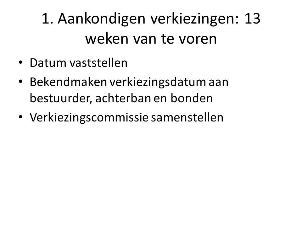 1. Aankondigen verkiezingen: 13 weken van te voren Datum vaststellen Bekendmaken verkiezingsdatum aan bestuurder, achterban en bonden Verkiezingscommi
