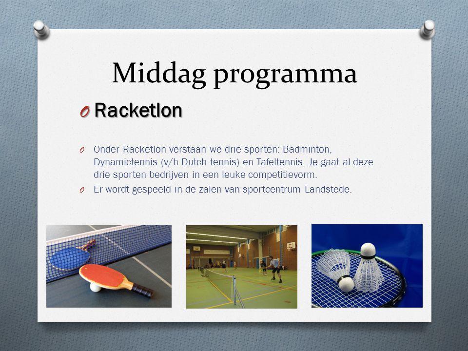 Middag programma O Racketlon O Onder Racketlon verstaan we drie sporten: Badminton, Dynamictennis (v/h Dutch tennis) en Tafeltennis. Je gaat al deze d