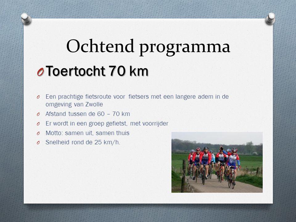 Ochtend programma O Toertocht 70 km O Een prachtige fietsroute voor fietsers met een langere adem in de omgeving van Zwolle O Afstand tussen de 60 – 7