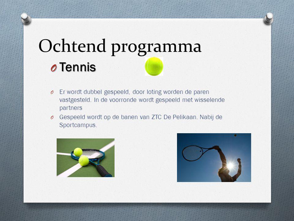 Ochtend programma O Tennis O Er wordt dubbel gespeeld, door loting worden de paren vastgesteld. In de voorronde wordt gespeeld met wisselende partners