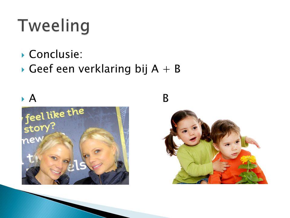  Conclusie:  Geef een verklaring bij A + B  AB
