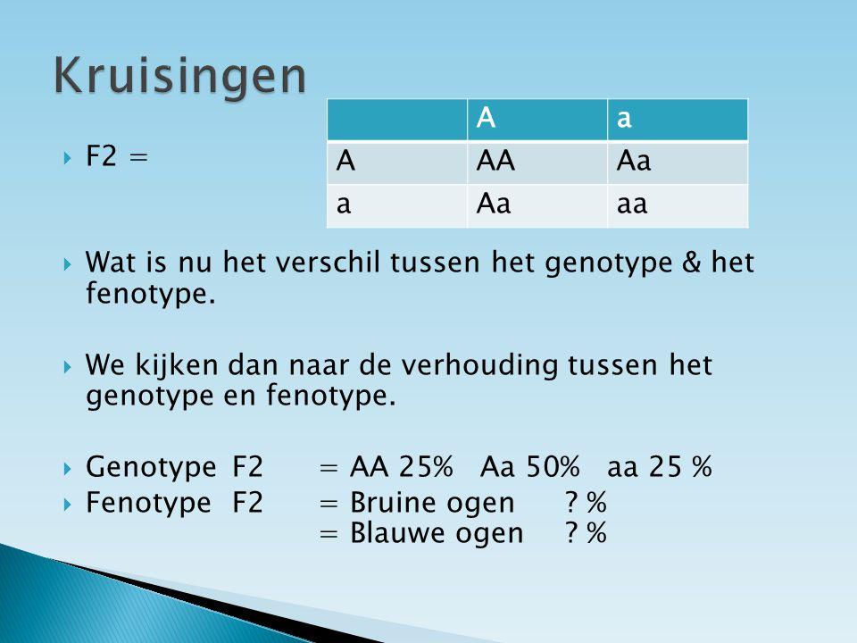  F2 =  Wat is nu het verschil tussen het genotype & het fenotype.