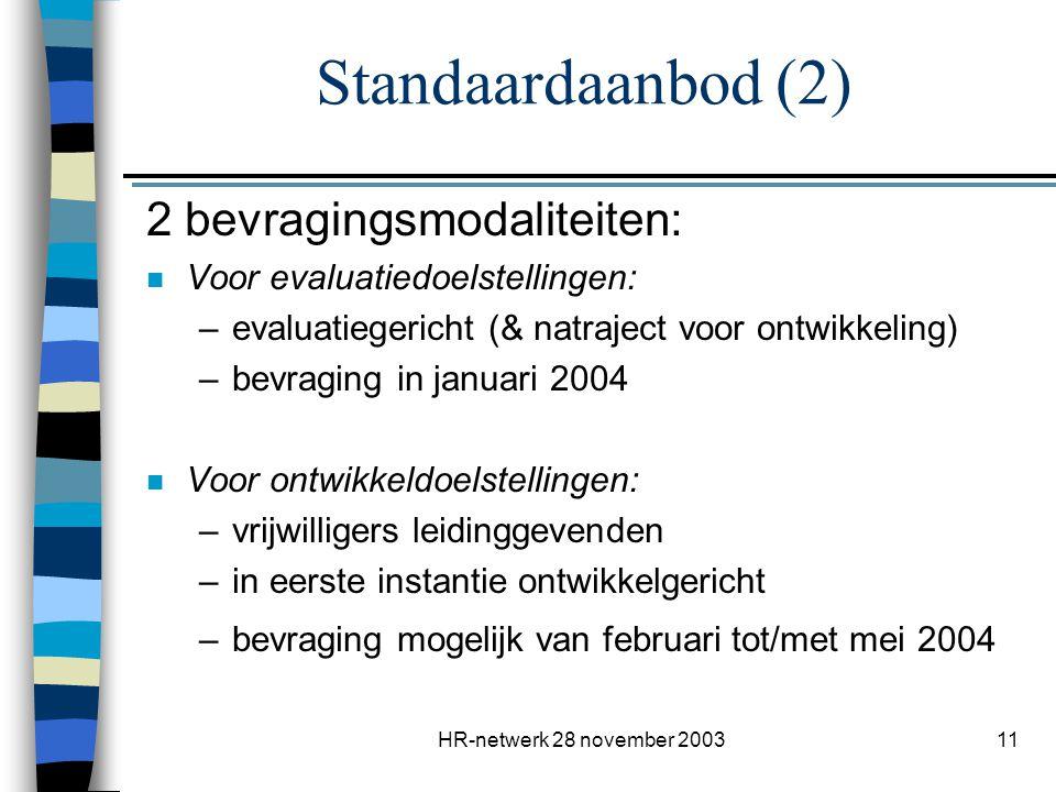 HR-netwerk 28 november 200311 Standaardaanbod (2) 2 bevragingsmodaliteiten: n Voor evaluatiedoelstellingen: –evaluatiegericht (& natraject voor ontwik