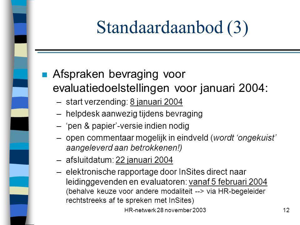 HR-netwerk 28 november 200312 n Afspraken bevraging voor evaluatiedoelstellingen voor januari 2004: –start verzending: 8 januari 2004 –helpdesk aanwez