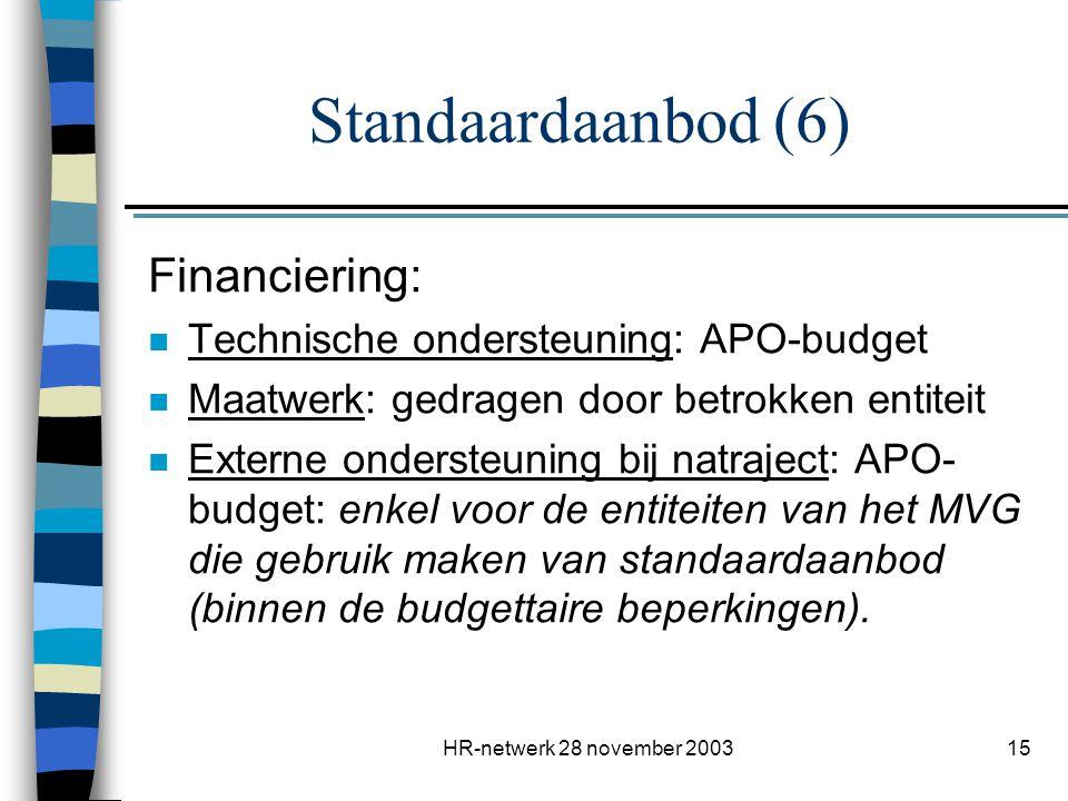 HR-netwerk 28 november 200315 Standaardaanbod (6) Financiering: n Technische ondersteuning: APO-budget n Maatwerk: gedragen door betrokken entiteit n