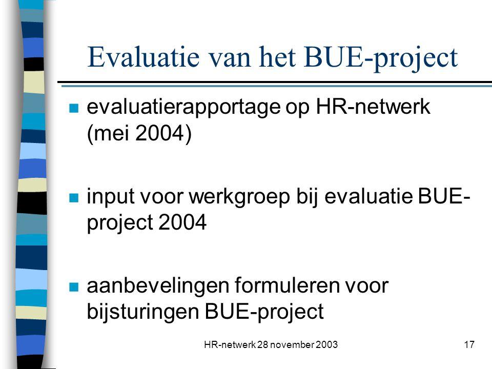 HR-netwerk 28 november 200317 Evaluatie van het BUE-project n evaluatierapportage op HR-netwerk (mei 2004) n input voor werkgroep bij evaluatie BUE- p