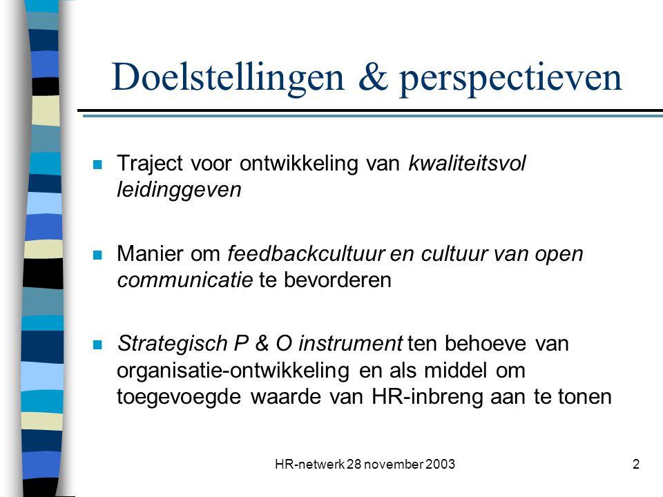 HR-netwerk 28 november 20032 Doelstellingen & perspectieven n Traject voor ontwikkeling van kwaliteitsvol leidinggeven n Manier om feedbackcultuur en