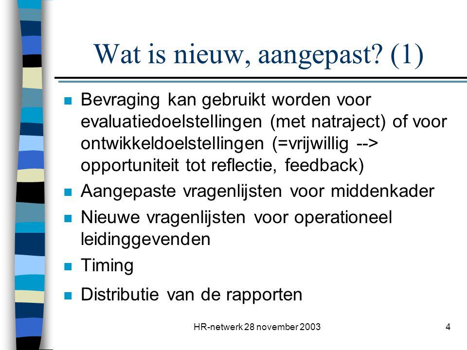 HR-netwerk 28 november 20034 Wat is nieuw, aangepast? (1) n Bevraging kan gebruikt worden voor evaluatiedoelstellingen (met natraject) of voor ontwikk