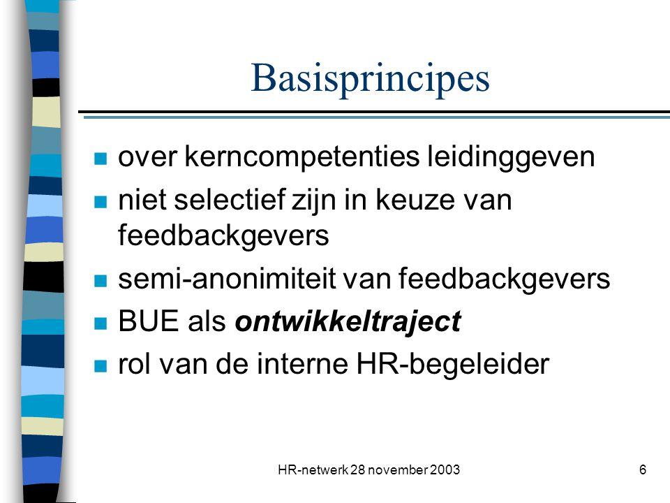 HR-netwerk 28 november 20036 Basisprincipes n over kerncompetenties leidinggeven n niet selectief zijn in keuze van feedbackgevers n semi-anonimiteit