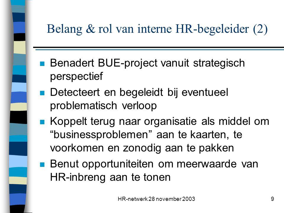 HR-netwerk 28 november 20039 Belang & rol van interne HR-begeleider (2) n Benadert BUE-project vanuit strategisch perspectief n Detecteert en begeleid