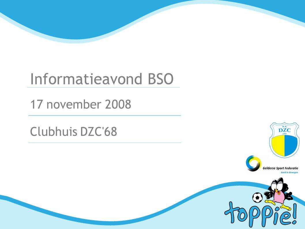 Programma 1Welkom 2Waarom opvang bij DZC'68 3BSO in beeld (videobeelden)  4Opzet van de BSO Opvang met sport Programma Logistiek (inclusief vervoer)  Vakantieopvang Medewerkers Financiën met voorbeelden Aanmeldprocedure 5Toekomst: uitbreiding 6Websites met aanmeldformulieren actief4kids.nl doetinchem.actief4kids.nl