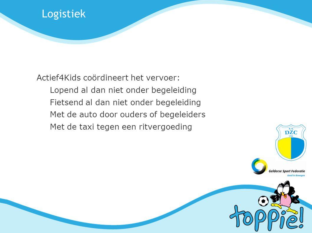 Logistiek Actief4Kids coördineert het vervoer: Lopend al dan niet onder begeleiding Fietsend al dan niet onder begeleiding Met de auto door ouders of