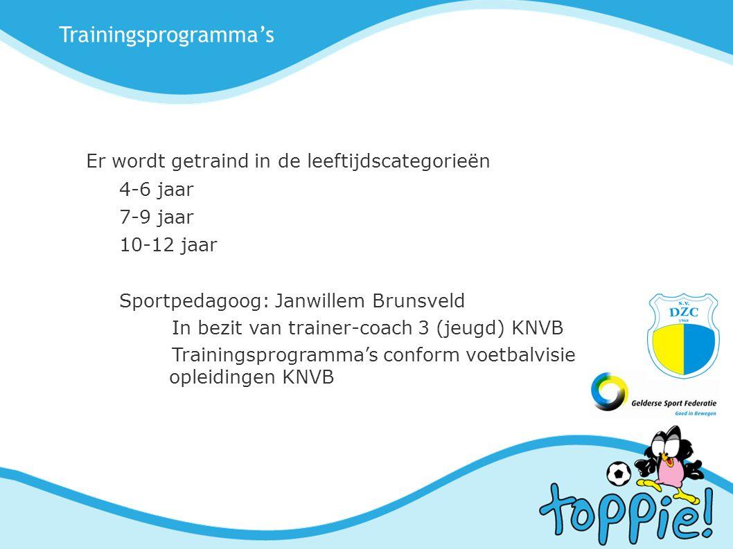 Trainingsprogramma's Er wordt getraind in de leeftijdscategorieën 4-6 jaar 7-9 jaar 10-12 jaar Sportpedagoog: Janwillem Brunsveld In bezit van trainer