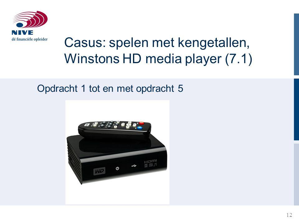 Casus: spelen met kengetallen, Winstons HD media player (7.1) Opdracht 1 tot en met opdracht 5 12