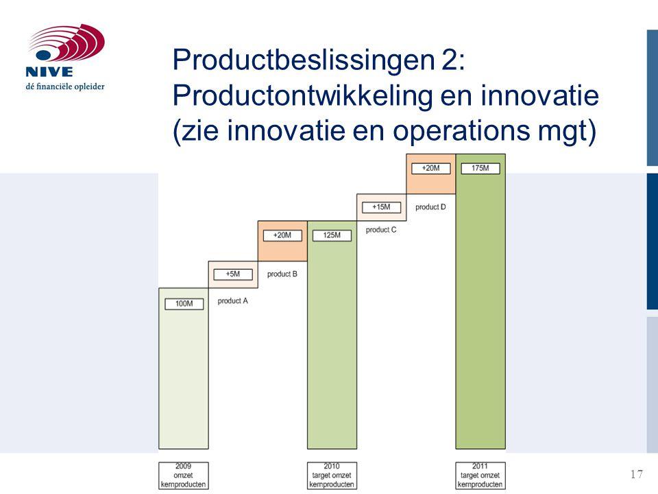 17 Productbeslissingen 2: Productontwikkeling en innovatie (zie innovatie en operations mgt)