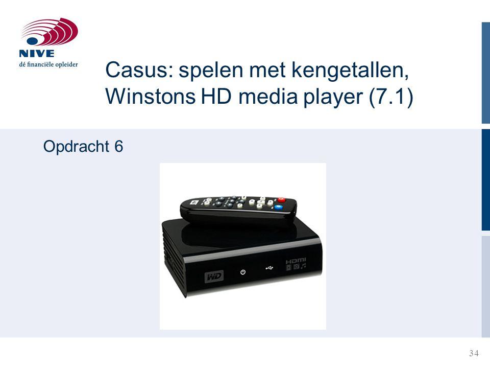 Casus: spelen met kengetallen, Winstons HD media player (7.1) Opdracht 6 34