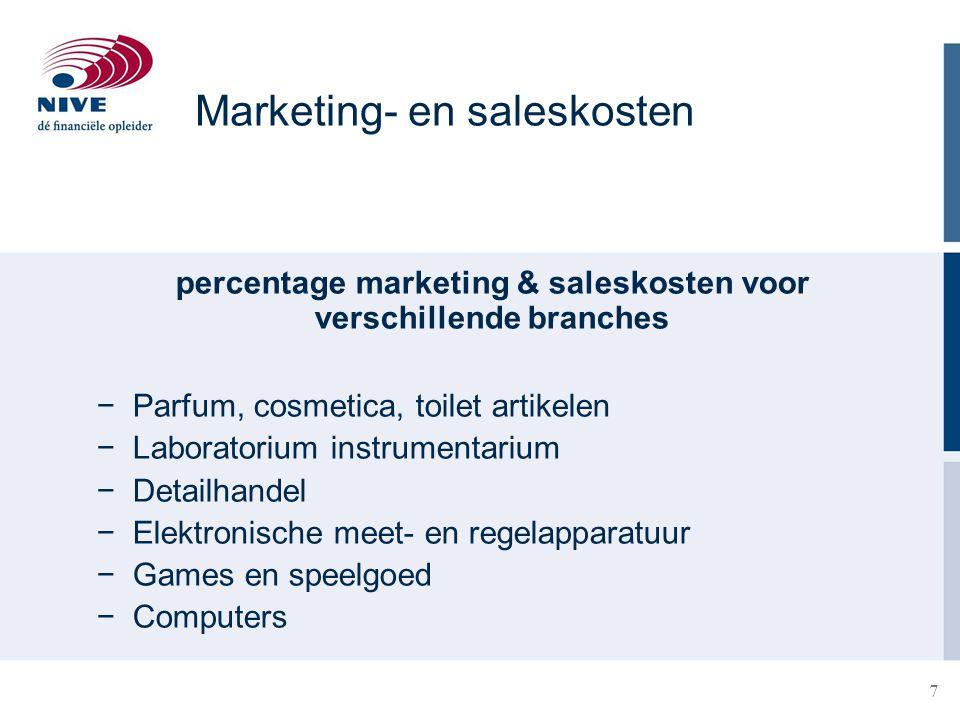 8 Marketing budget en doelstellingen Vaststellen marketing budget Topdown: vast bedrag of % van de omzet Bottom-up: doelstellingen * benodigde kosten