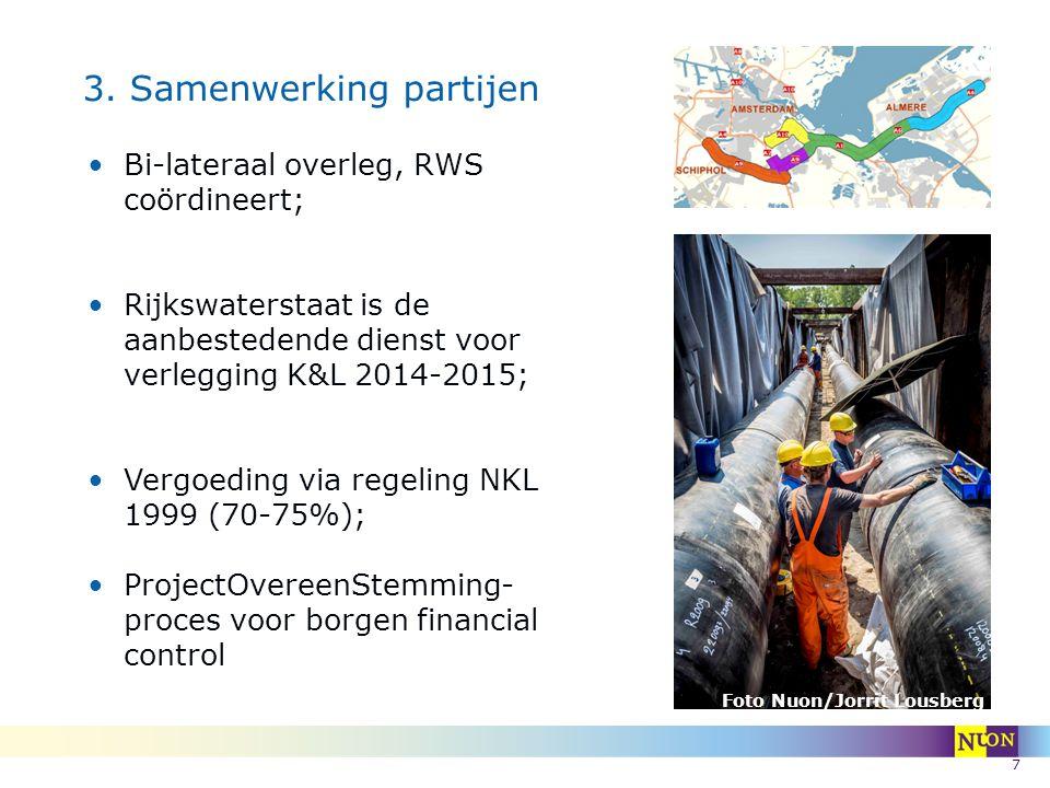 7 3. Samenwerking partijen Bi-lateraal overleg, RWS coördineert; Rijkswaterstaat is de aanbestedende dienst voor verlegging K&L 2014-2015; Vergoeding