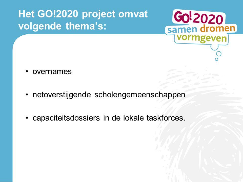 Het GO!2020 project omvat volgende thema's: overnames netoverstijgende scholengemeenschappen capaciteitsdossiers in de lokale taskforces.