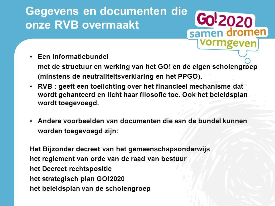 Gegevens en documenten die onze RVB overmaakt Een informatiebundel met de structuur en werking van het GO.