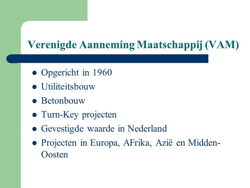 Verenigde Aanneming Maatschappij (VAM) Opgericht in 1960 Utiliteitsbouw Betonbouw Turn-Key projecten Gevestigde waarde in Nederland Projecten in Europ
