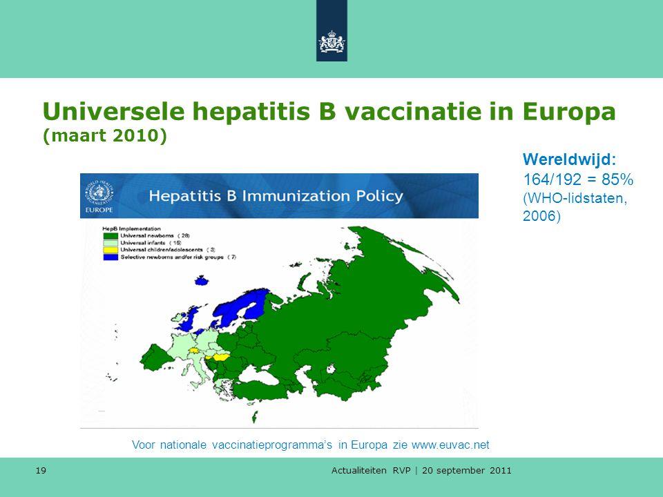 Actualiteiten RVP | 20 september 2011 19 Universele hepatitis B vaccinatie in Europa (maart 2010) Voor nationale vaccinatieprogramma's in Europa zie w