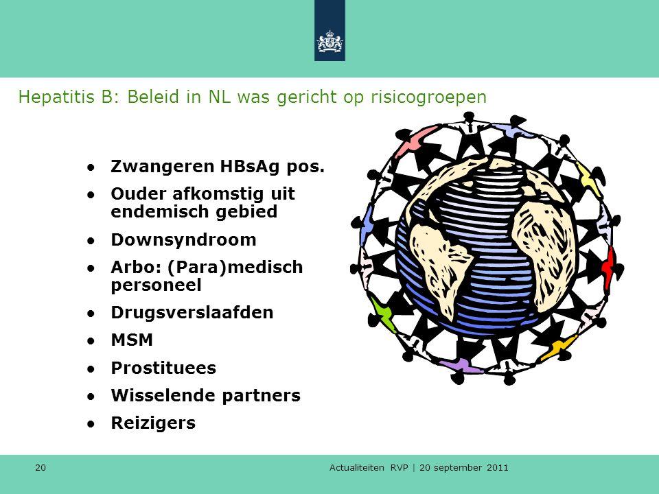 Actualiteiten RVP | 20 september 2011 20 Hepatitis B: Beleid in NL was gericht op risicogroepen ●Zwangeren HBsAg pos. ●Ouder afkomstig uit endemisch g