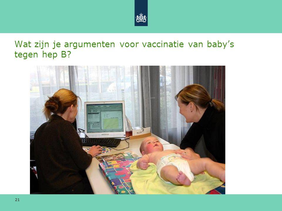 21 Wat zijn je argumenten voor vaccinatie van baby's tegen hep B?