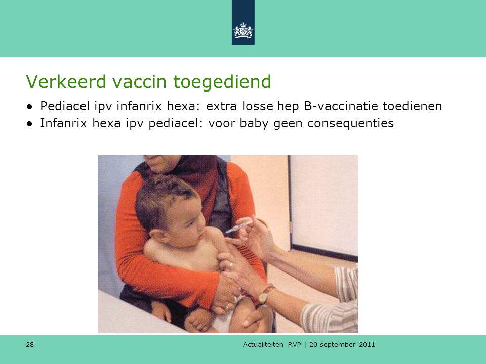 Actualiteiten RVP | 20 september 2011 28 Verkeerd vaccin toegediend ●Pediacel ipv infanrix hexa: extra losse hep B-vaccinatie toedienen ●Infanrix hexa