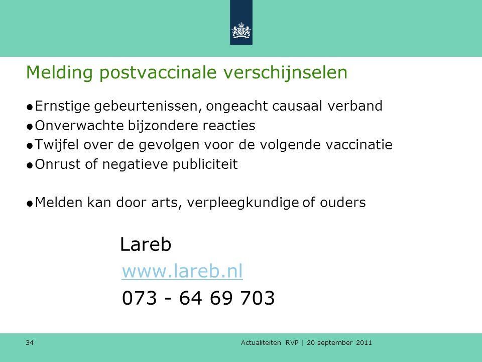 Actualiteiten RVP | 20 september 2011 34 Melding postvaccinale verschijnselen ●Ernstige gebeurtenissen, ongeacht causaal verband ●Onverwachte bijzonde