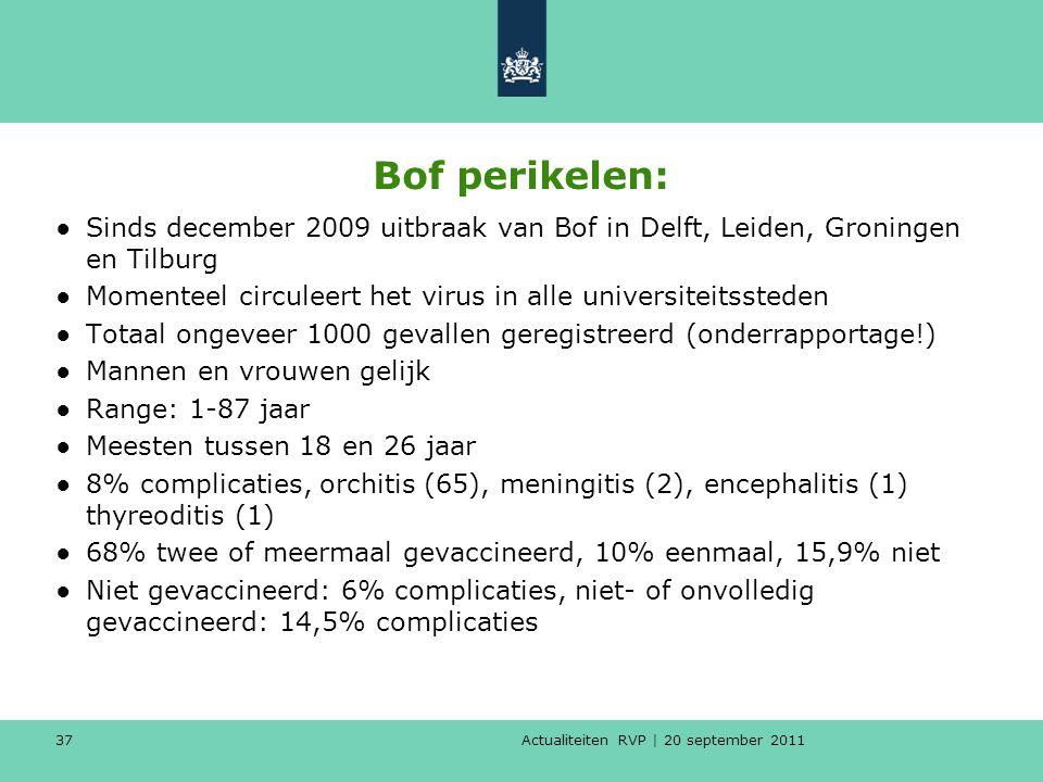 Actualiteiten RVP | 20 september 2011 37 Bof perikelen: ●Sinds december 2009 uitbraak van Bof in Delft, Leiden, Groningen en Tilburg ●Momenteel circul