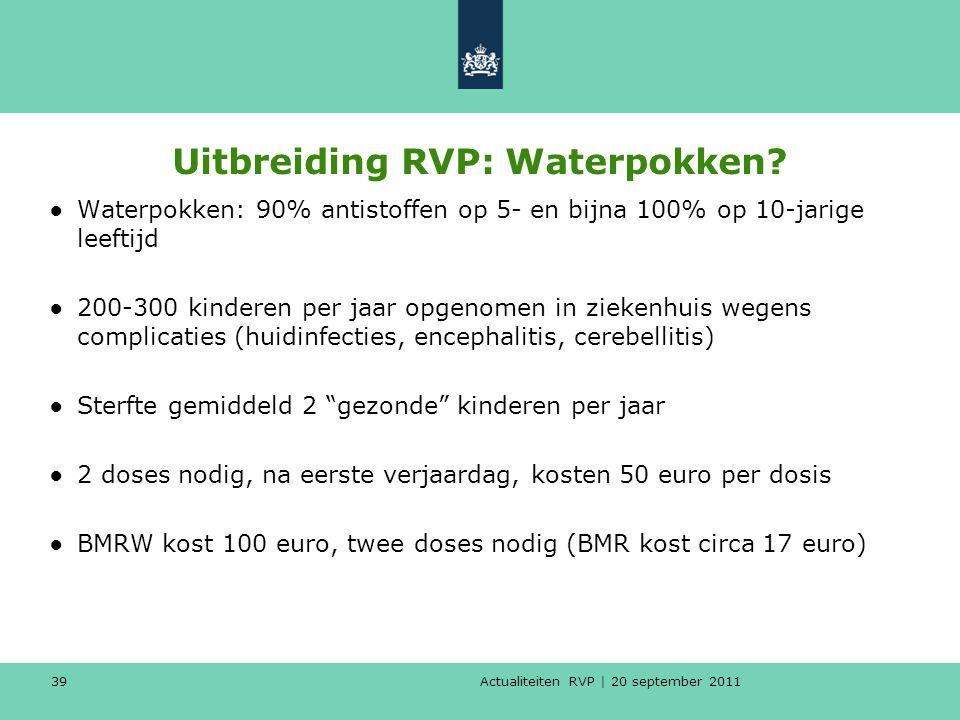 Actualiteiten RVP | 20 september 2011 39 Uitbreiding RVP: Waterpokken? ●Waterpokken: 90% antistoffen op 5- en bijna 100% op 10-jarige leeftijd ●200-30
