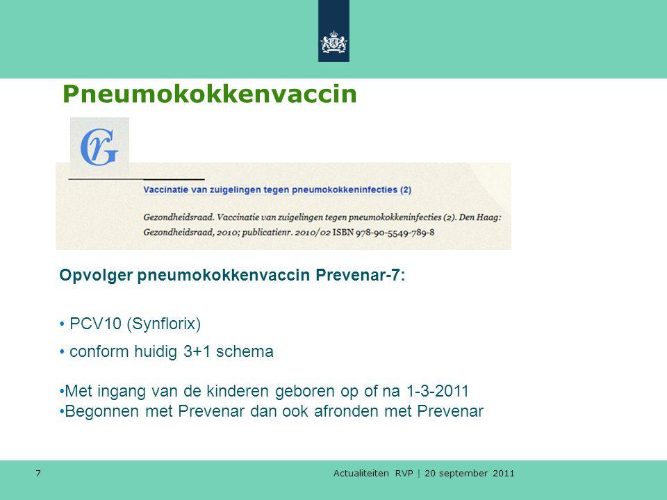 Actualiteiten RVP   20 september 2011 8 Van Prevenar7 naar Synflorix10 Algemeen geldt: Baby's geboren tot 1-3-2011: complete serie prevenar Baby's geboren vanaf 1-3-2011: complete serie synflorix Voor beide vaccins gelden dezelfde uitvoeringsregels: Leeftijdvaccinatieschema t/m 6 m3+1 7 t/m 11 m2+1 12 t/m 23 m1+1
