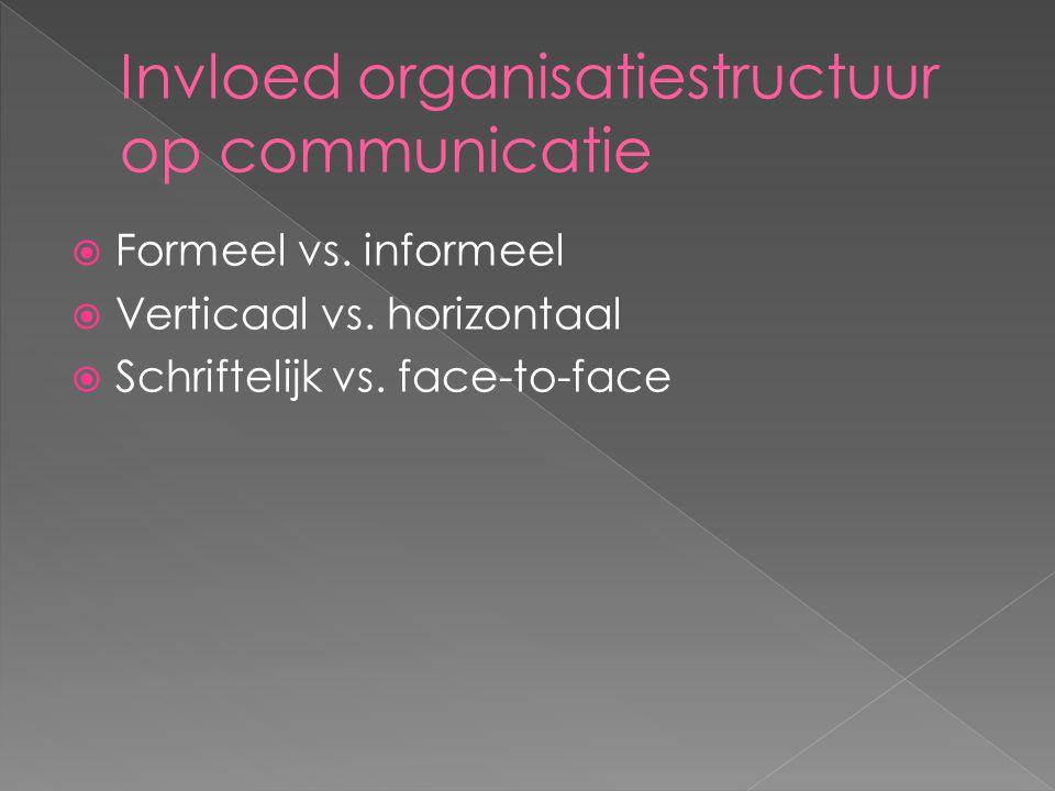  Formeel vs. informeel  Verticaal vs. horizontaal  Schriftelijk vs. face-to-face