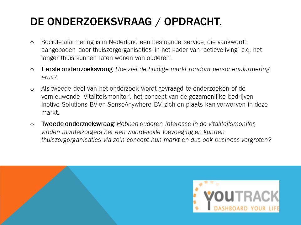 DE ONDERZOEKSVRAAG / OPDRACHT. o Sociale alarmering is in Nederland een bestaande service, die vaakwordt aangeboden door thuiszorgorganisaties in het