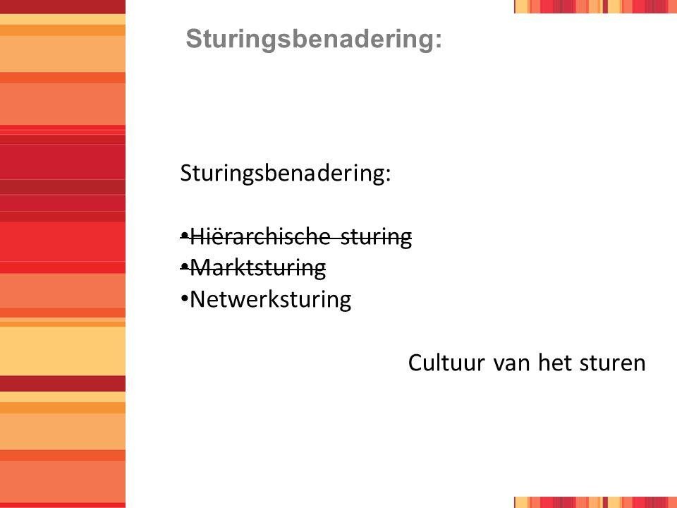 Sturingsbenadering: Hiërarchische sturing Marktsturing Netwerksturing Cultuur van het sturen