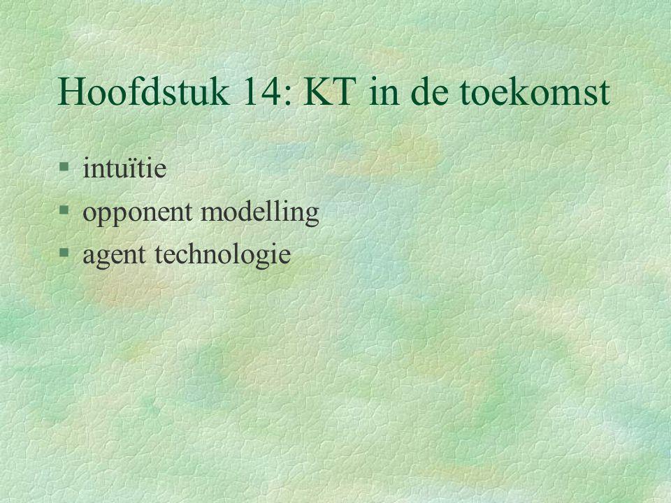 Hoofdstuk 14: KT in de toekomst §intuïtie §opponent modelling §agent technologie
