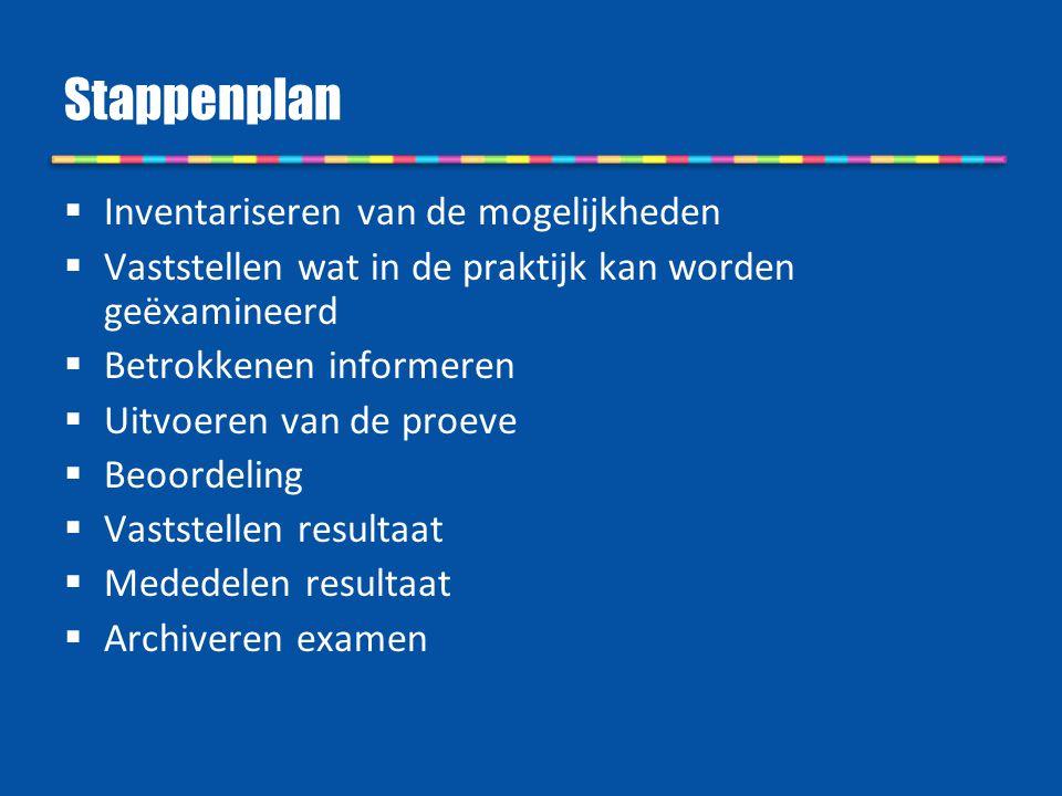 Stappenplan  Inventariseren van de mogelijkheden  Vaststellen wat in de praktijk kan worden geëxamineerd  Betrokkenen informeren  Uitvoeren van de