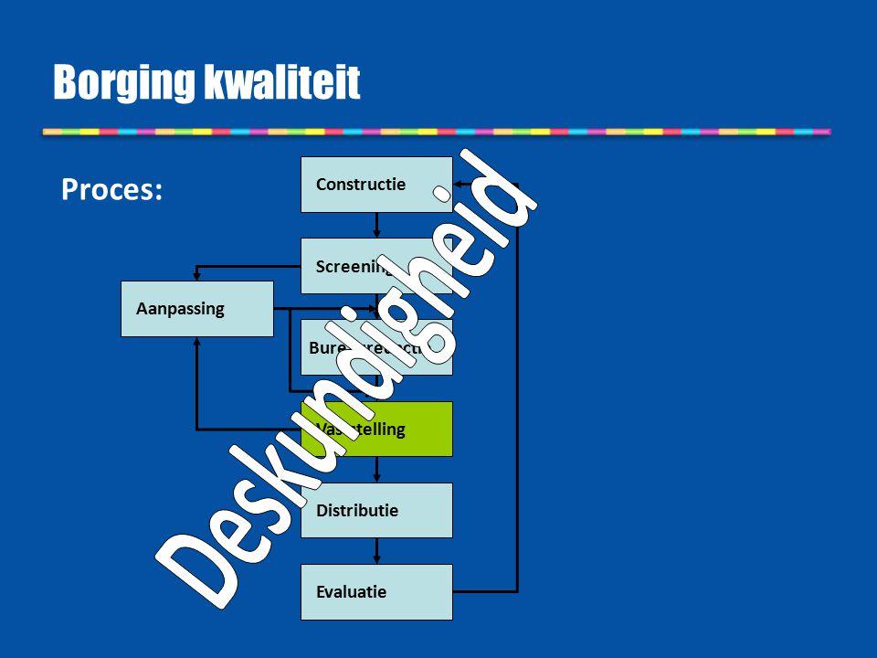 Borging kwaliteit Constructie Bureauredactie Screening Vaststelling Distributie Evaluatie Aanpassing Proces: