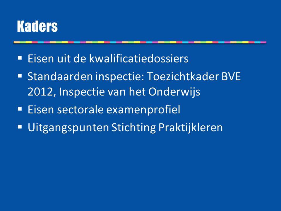 Kaders  Eisen uit de kwalificatiedossiers  Standaarden inspectie: Toezichtkader BVE 2012, Inspectie van het Onderwijs  Eisen sectorale examenprofie